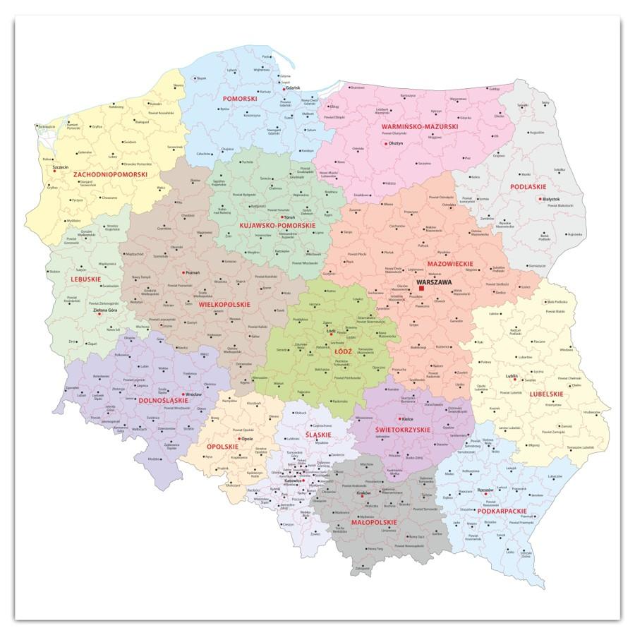 Szklana Tablica Magnetyczna 60x60 Cm Mapa Polska M004